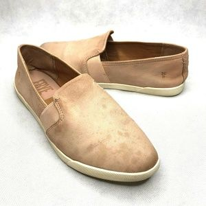 Frye Dylan Flats Pink Slip On White Rubber Soles